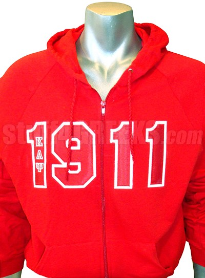Kappa Alpha Psi 1911 Full-Zip Hoodie Sweatshirt with Letters, Red