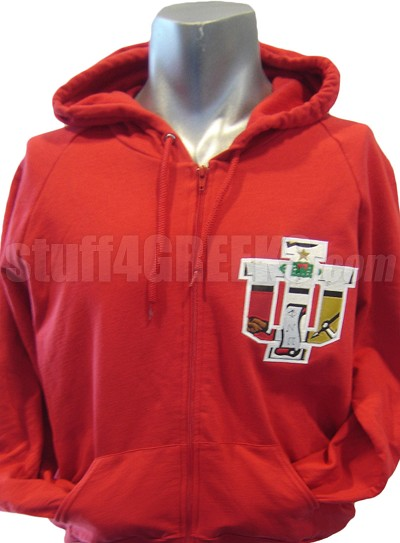 Kappa Alpha Psi Full-Zip Hoodie Sweatshirt with Crest Inside I.U. Logo, Red