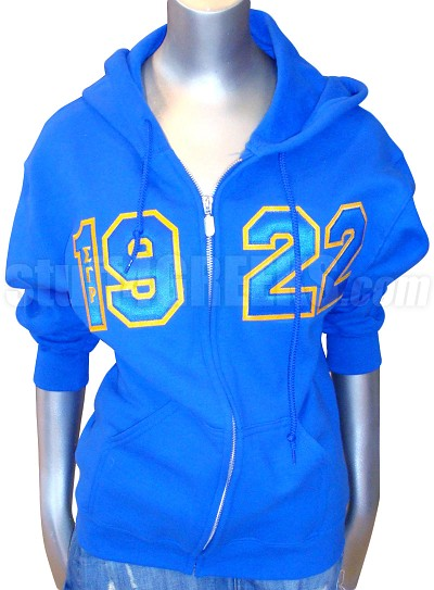 Sigma Gamma Rho 1922 Full-Zip Hoodie Sweatshirt with Letters, Royal