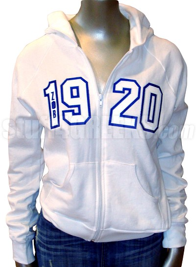 Zeta Phi Beta 1920 Full-Zip Hoodie Sweatshirt with Letters, White