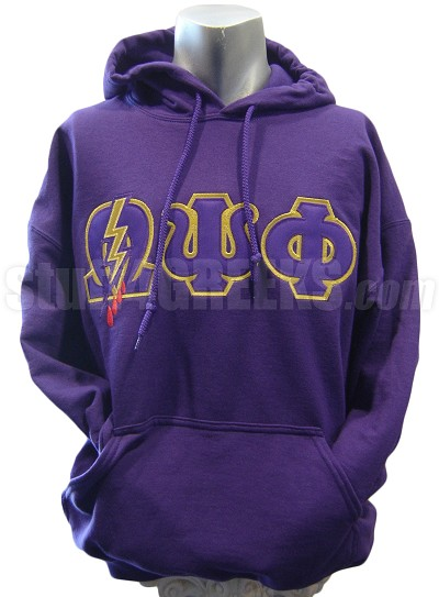 Omega Psi Phi Greek Letter Pullover Hoodie Sweatshirt with Lightning, Purple