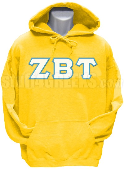 Zeta Beta Tau Greek Letter Pullover Hoodie Sweatshirt, Gold