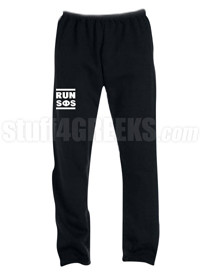 Swing Phi Swing Run DMC Screen Printed Sweatpants, Black (AB)