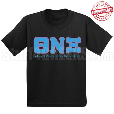 Theta Nu Xi Motto T-Shirt, Black - EMBROIDERED with Lifetime Guarantee