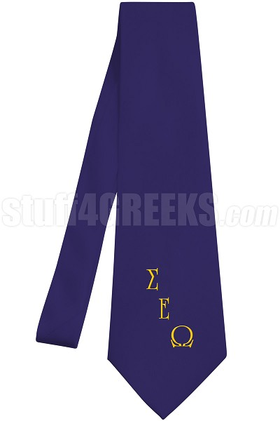 Sigma Epsilon Omega Necktie with Logo Greek Letters, Navy Blue