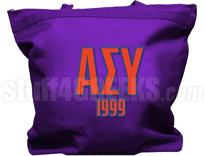 Alpha Sigma Upsilon Tote Bag with Greek Letters and Founding Year, Purple