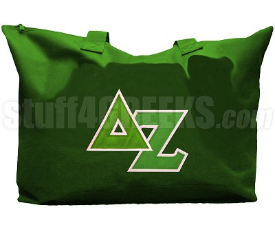 Delta Zeta Tote Bag with Greek Letters, Forest Green