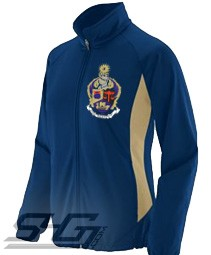 Alpha Kappa Psi Large Crest Track Jacket (Ladies), Navy/Vegas Gold