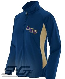 Alpha Kappa Psi Logo Track Jacket (Ladies), Navy/Vegas Gold