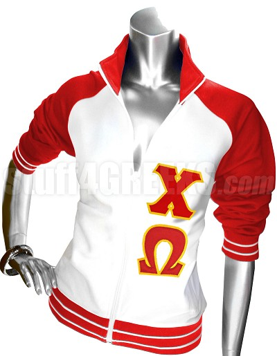 Chi Omega Track Jacket with Greek Letters, Red