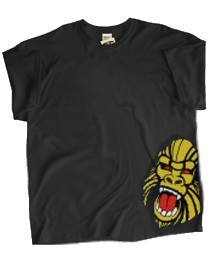 Angry Ape Corner Design (Mascot #1) Screen Printed T-Shirt, Black