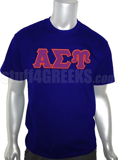 Alpha Sigma Upsilon Men's Greek Letter Screen Printed T-Shirt, Navy Blue