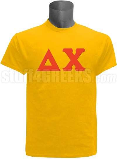 Delta Chi Greek Letter Screen Printed T-Shirt, Gold