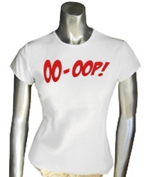 Oo-oop Embroidered Tee, White