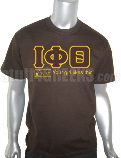 Iota Phi Theta Greek Letter Screen Printed T-Shirt with FB Like Button, Brown