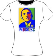 "Order of the Eastern Star ""Progress"" Obama Ladies T-Shirt, White"