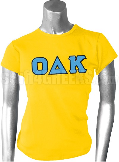 Omicron Delta Kappa Ladies Greek Letter Screen Printed T-Shirt, Gold