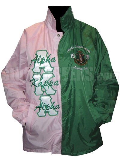 pink and kelly twotone alpha kappa alpha line jacket with