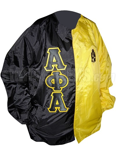 Alpha Phi Alpha Two-Tone Line Jacket with Greek Letters and Crest, Black/Yellow