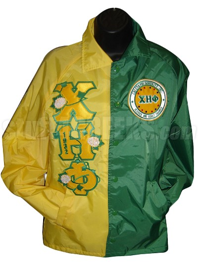 Chi Eta Phi Two-Tone Logo Line Jacket with Flowers Thru Greek Letters, Yellow/Green