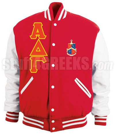 Alpha Delta Gamma Varsity Letterman Jacket with Greek Letters and Crest, Red/White