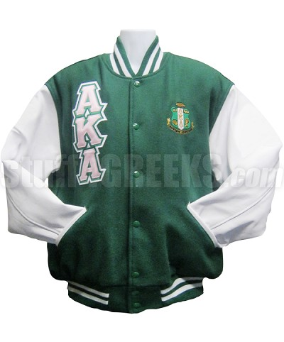 Alpha Kappa Alpha Varsity Letterman Jacket with Triple Layer Greek Letters and Crest, Forest Green/White
