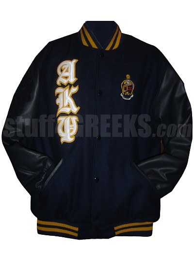 Alpha Kappa Psi Varsity Letterman Jacket with Old English Greek Letters and Crest, Navy Blue/Black