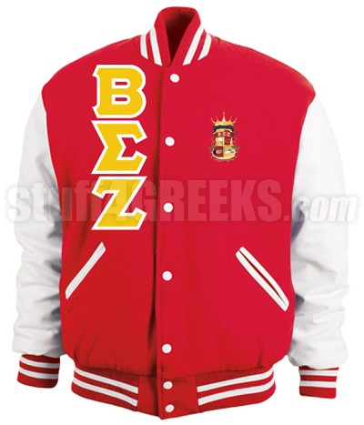 Beta Sigma Zeta Varsity Letterman Jacket with Greek Letters and Crest, Red/White
