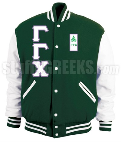 Gamma Gamma Chi Varsity Letterman Jacket with Greek Letters and Crest, Forest Green/White