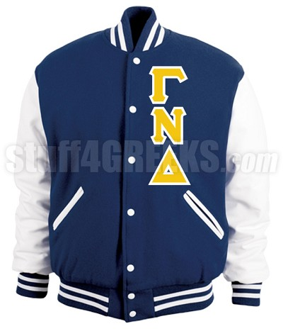 Gamma Nu Delta Varsity Letterman Jacket with Greek Letters, Royal Blue/White