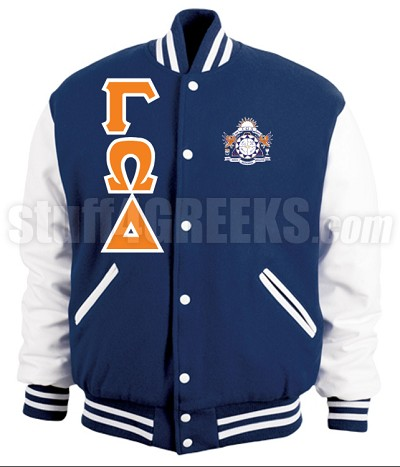 Gamma Omega Delta Varsity Letterman Jacket with Greek Letters and Crest, Navy Blue/White