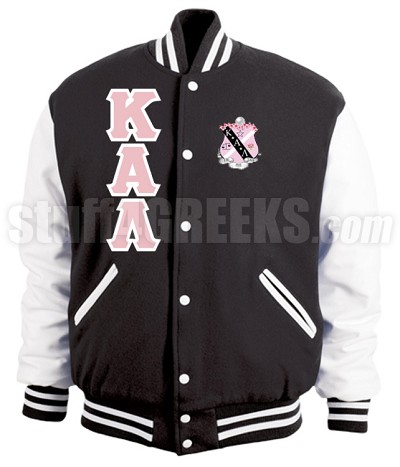 Kappa Alpha Lambda Varsity Letterman Jacket with Greek Letters and Crest, Black/White
