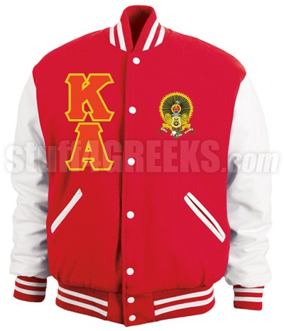 Kappa Alpha Order Varsity Letterman Jacket with Letters and Crest, Red/White