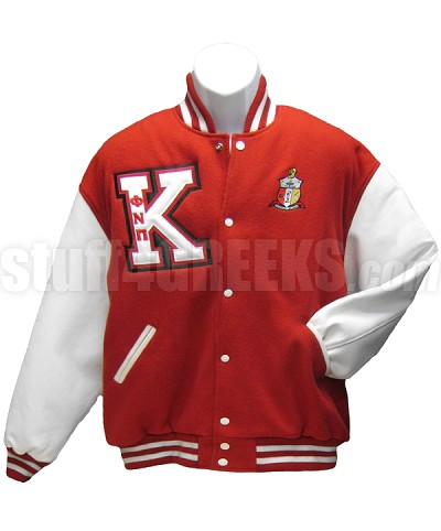 Kappa Alpha Psi Big Letter Varsity Jacket with Phi Nu Pi Greek Letters and Crest, Red/White - EMBROIDERED With Lifetime Guarantee