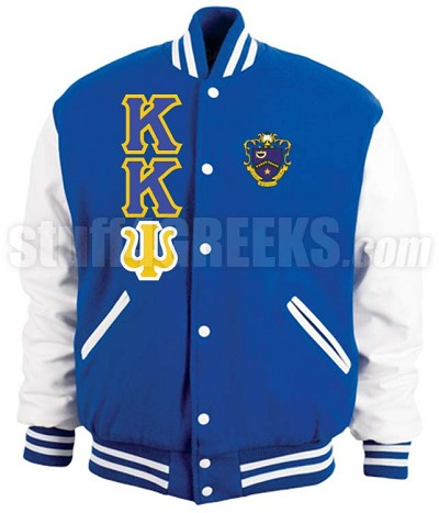 Kappa Kappa Psi Varsity Letterman Jacket with Greek Letters and Crest, Royal Blue/White