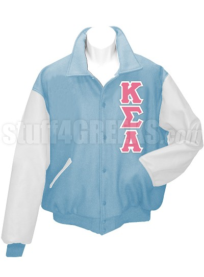 Kappa Sigma Alpha Varsity Letterman Jacket with Greek Letters, Columbia Blue/White