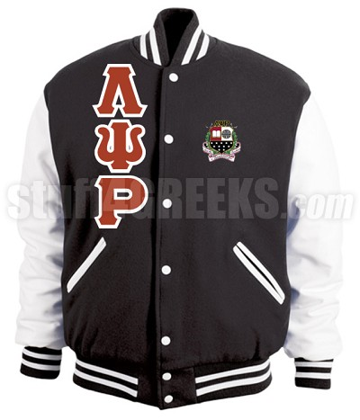 Lambda Psi Rho Varsity Letterman Jacket with Greek Letters and Crest, Black/White