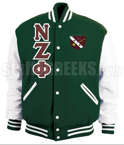 Nu Zeta Phi Varsity Letterman Jacket with Greek Letters and Crest, Forest Green/White