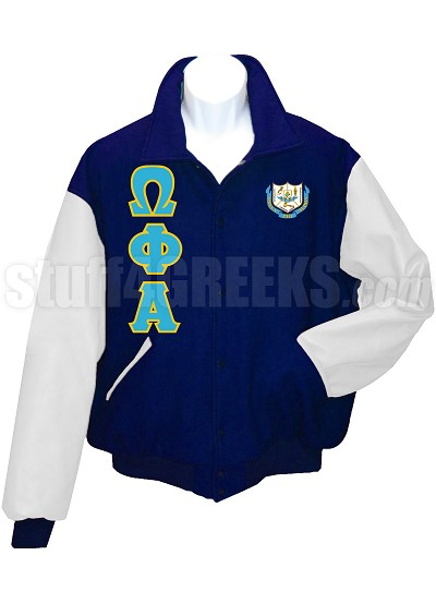Omega Phi Alpha Varsity Letterman Jacket with Greek Letters and Crest, Navy Blue/White