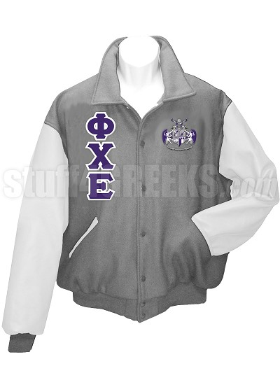 Phi Chi Epsilon Varsity Letterman Jacket with Greek Letters and Crest, Gray/White