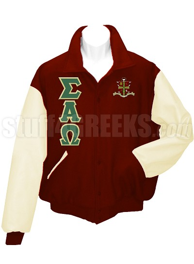 Sigma Alpha Omega Varsity Letterman Jacket with Greek Letters and Crest, Crimson/White