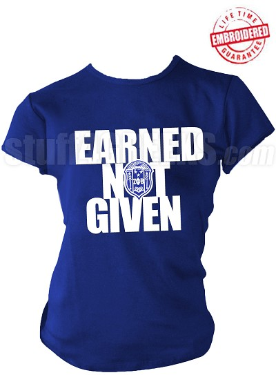 "Zeta Phi Beta ""Earned Not Given"" T-Shirt, Royal Blue - EMBROIDERED with Lifetime Guarantee"
