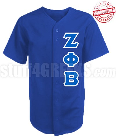Zeta Phi Beta Greek Letter Cloth Baseball Jersey, Royal Blue (AG1680) - EMBROIDERED WITH LIFETIME GUARANTEE