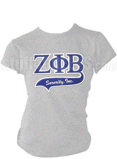 Zeta Phi Beta Greek Letter Tail Patch T-Shirt, Grey (NS)