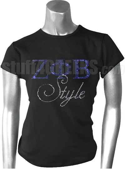 Zeta Phi Beta Style Metallic Stone Stud T-Shirt, Black