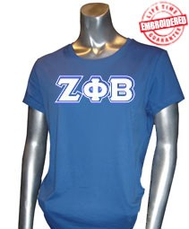 Zeta Phi Beta Triple-Layered Letters T-Shirt, Royal - EMBROIDERED with Lifetime Guarantee