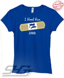 I Bleed Blue (Zeta Phi Beta) - EMBROIDERED with Lifetime Guarantee